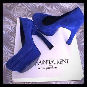 YSL blue suede heels